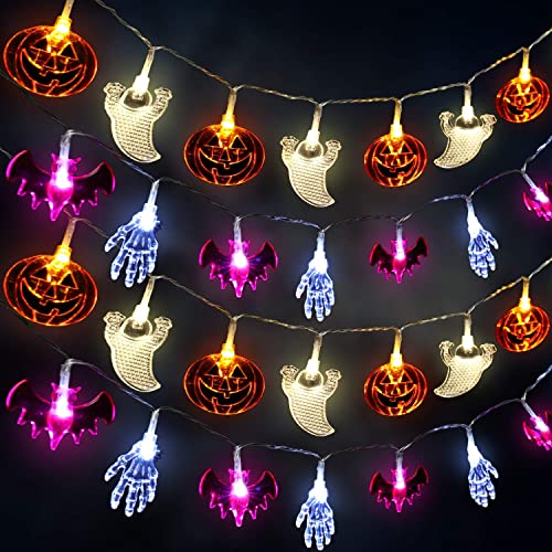 Halloween Decoration Lights, 10 Feet 40 LED Pumpkins Ghosts Bats Skeleton Hands Battery Operated Halloween String Lights Spooky Horrific Themed Lights for Indoor Outdoor Cosplay Party