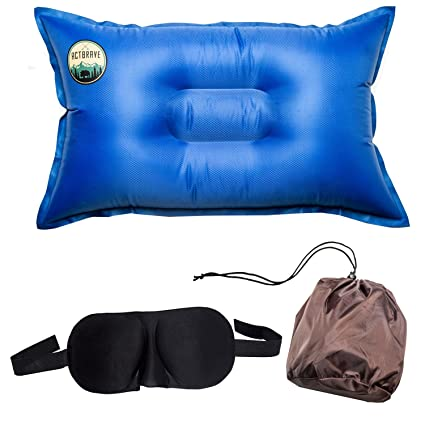 8f69d332690 Camping Self-Inflating Pillow and Eye Sleeping Mask - Exclusive Set -  Compressible Inflatable Air