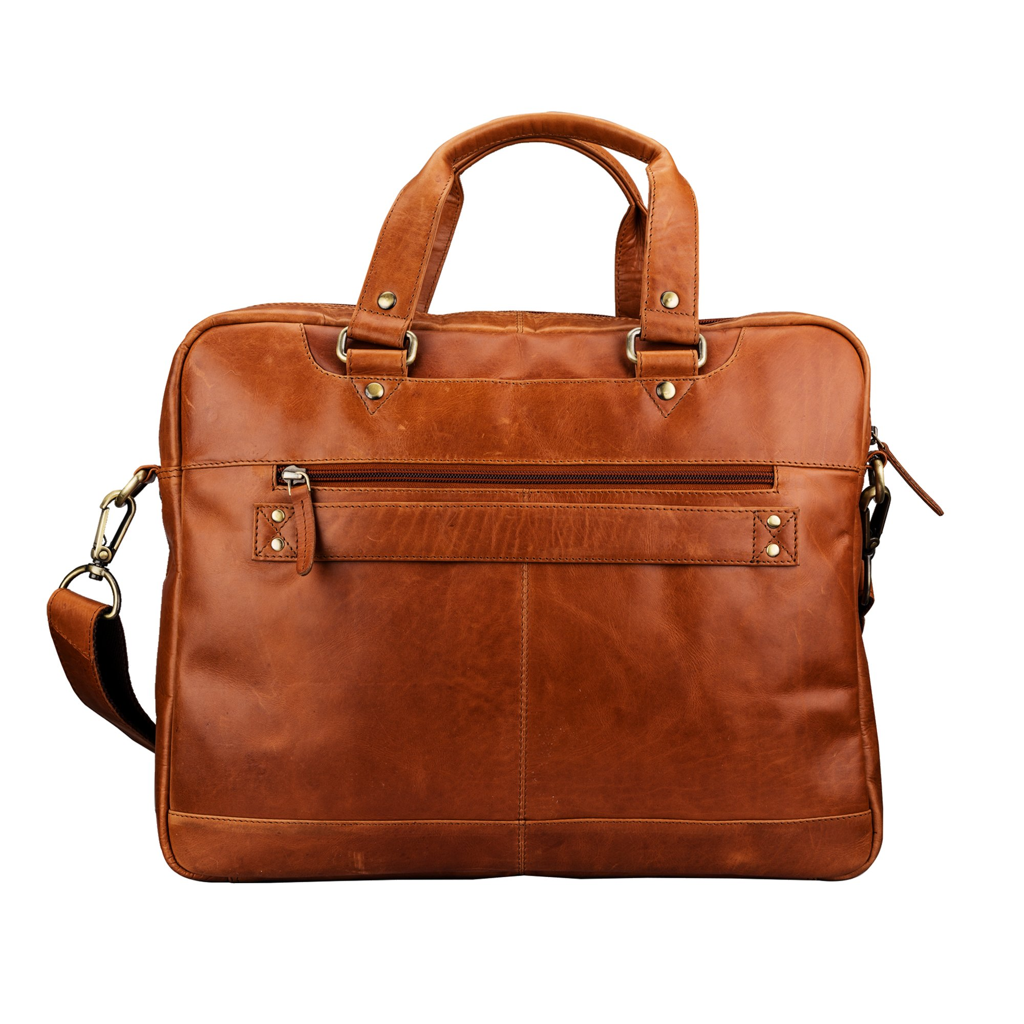 Finelaer Leather Laptop Computer Messenger Zipper Bag Brown with Trolley Sleeve for Men Women by FINELAER (Image #1)