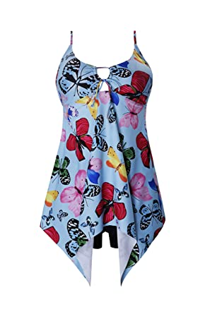 0205507ff12a6 Crazycatz Butterfly Print Swimdress and Black Shorts Asymmetric Hem at Amazon  Women s Clothing store