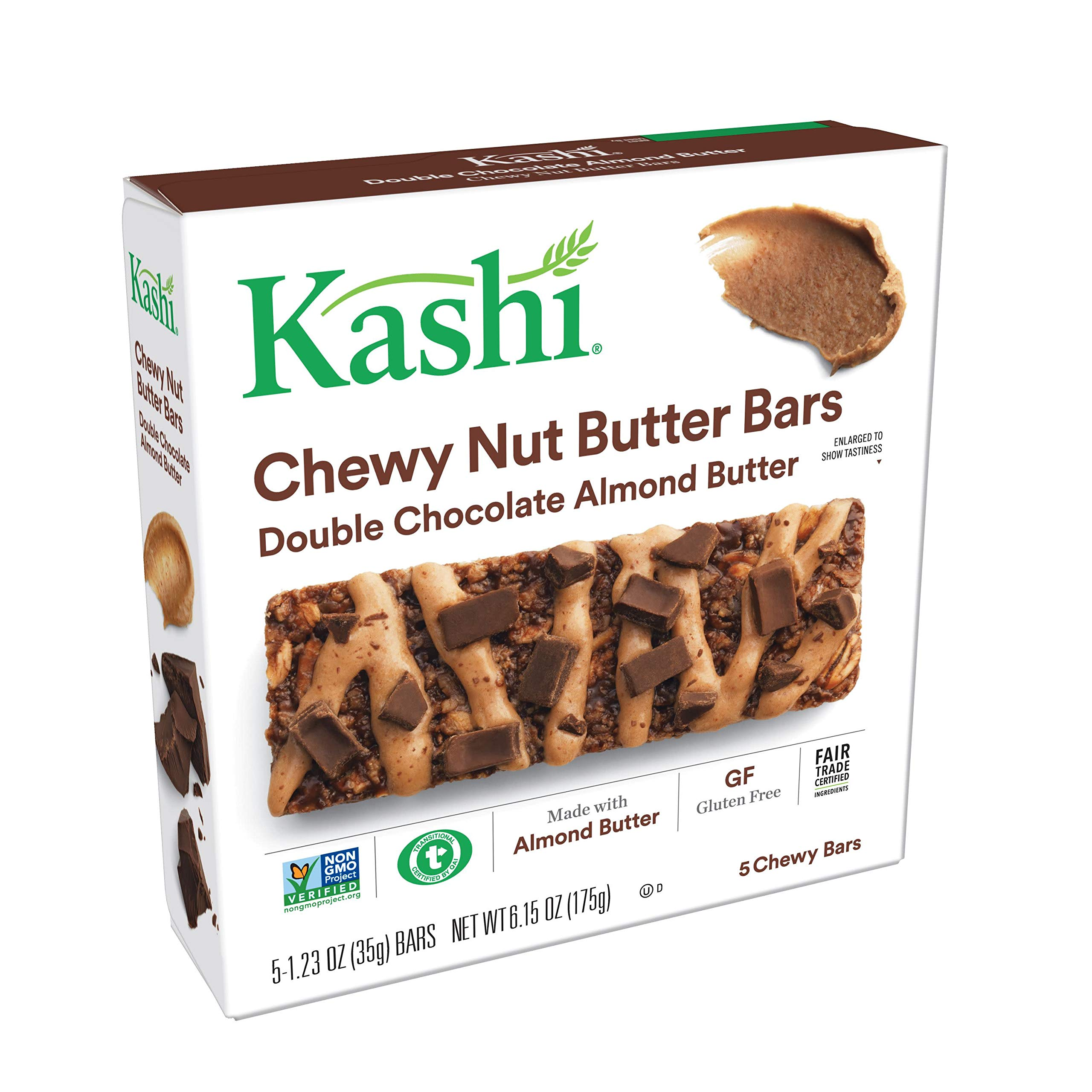 Kashi, Chewy Nut Butter Bars, Double Chocolate Almond Butter, Gluten Free, Non-GMO, 6.15 oz (5 Count)(Pack of 8) by Kashi
