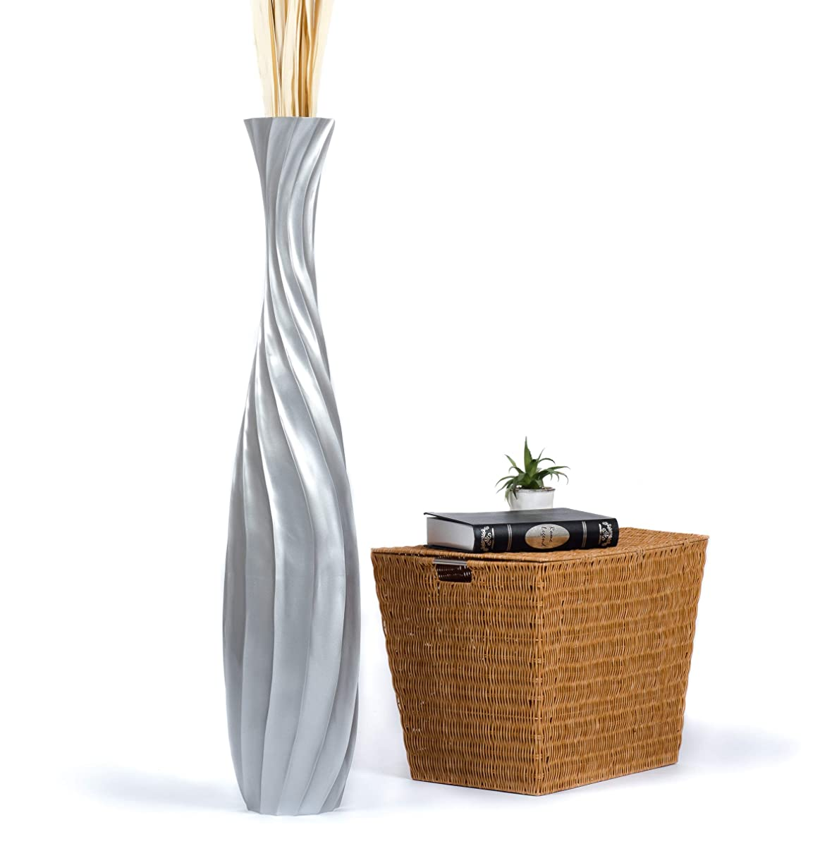 Leewadee Tall Big Floor Standing Vase for Home Decor, 9x44 inches, Wood, Silver