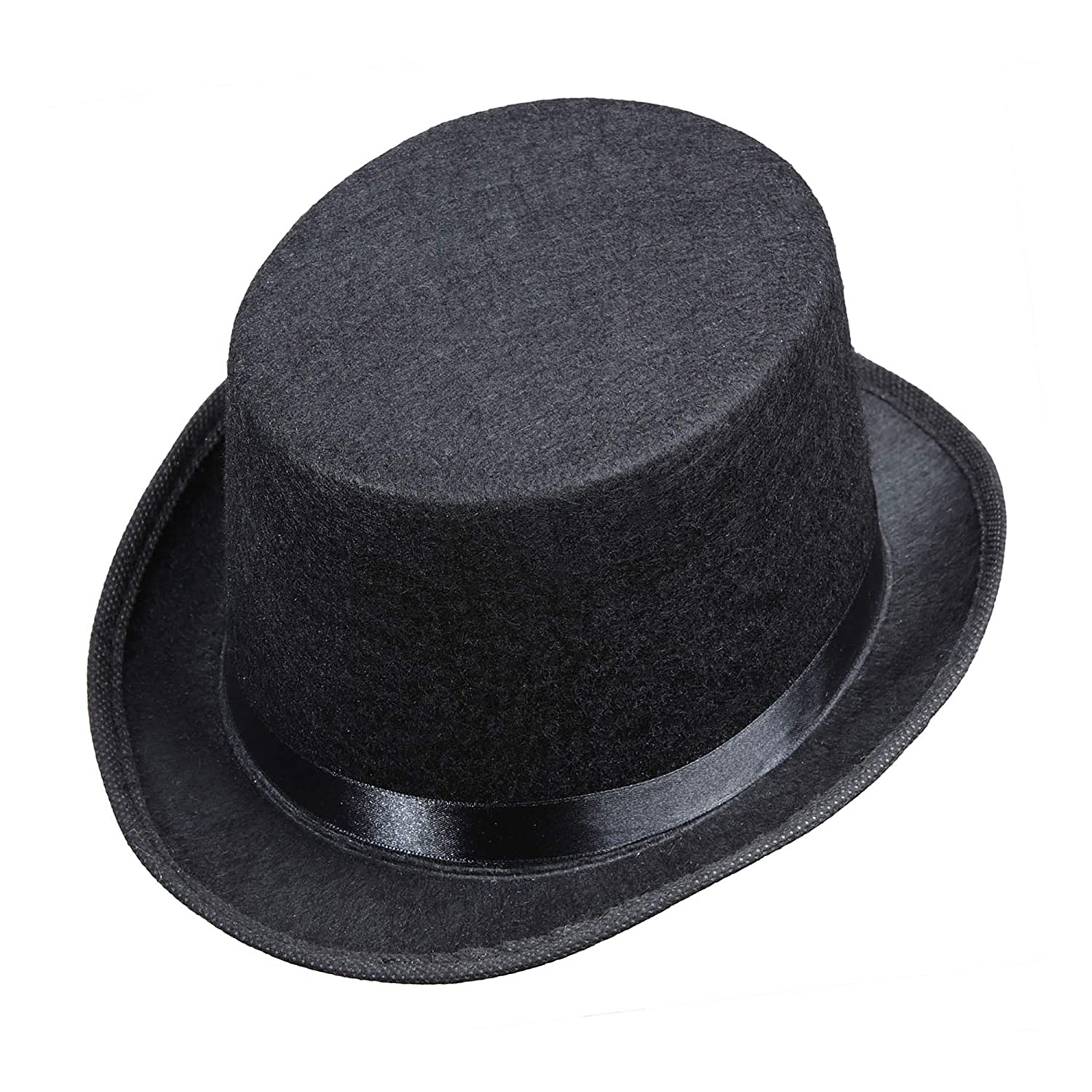 6067db4f512 Top Felt Child Size - Black Felt Top Hats Caps   Headwear for Fancy Dress  Costumes Accessory  Amazon.co.uk  Toys   Games