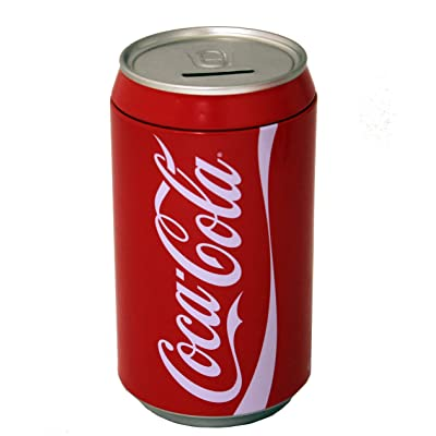 The Tin Box Company Coca Cola Can Bank with Removable Lid, Red, Model:660227-12: Toys & Games