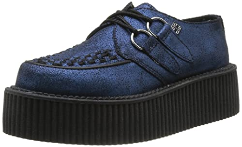 56e2594a040d10 T.U.K. Shoes A8550 Unisex Metallic Blue Cracked Suede Mondo Creepers
