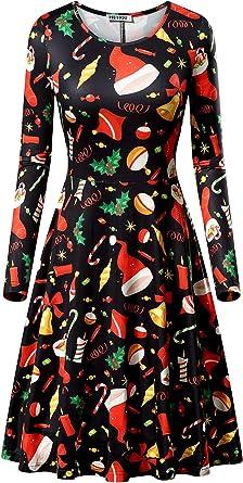 Womens Christmas Xmas Santa Rudolph Gift Present Ladies Legging Swing Mini Dress