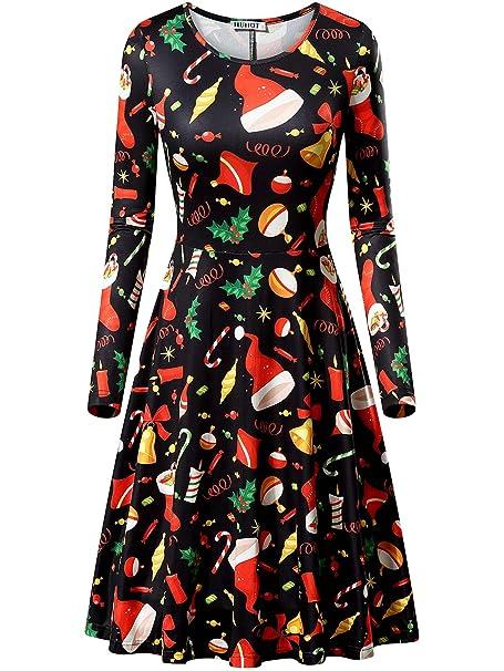 c052d46a069a HUHOT Long Sleeve Dresses, Women Xmas Rudolph Gift Bells Present Flared  Dress (Black Bells