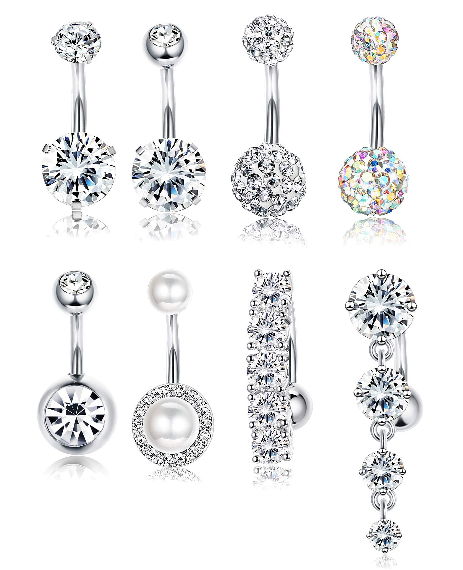 Udalyn 8pcs Belly Button Rings for Women Girls Dangle Ball Navel Rings Body Jewelry Piercing 14G