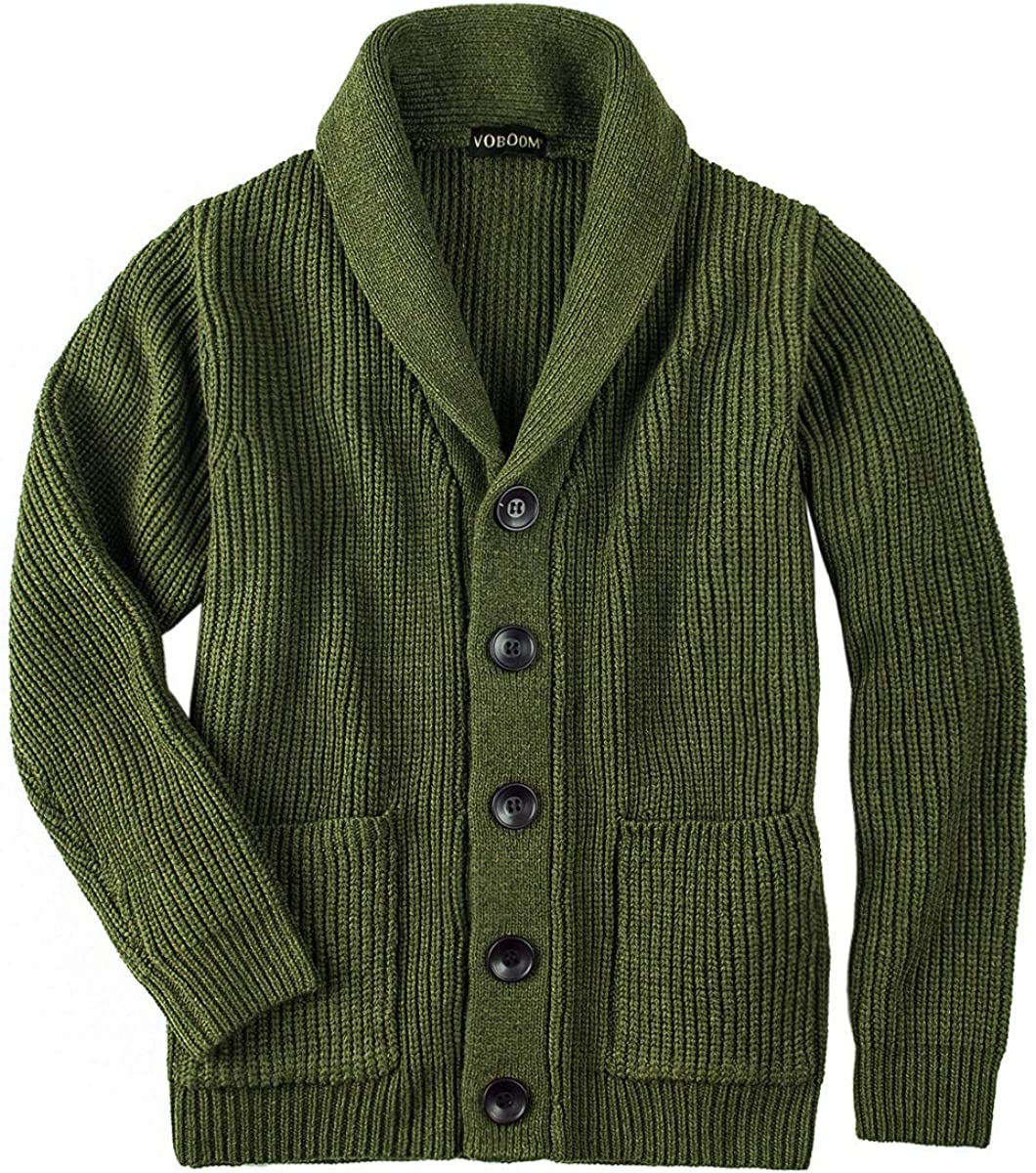 VOBOOM Mens Knitwear Button Down Shawl Collar Cardigan Sweater with Pockets