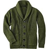 VOBOOM Men's Knitwear Button Down Shawl Collar Cardigan Sweater with Pockets