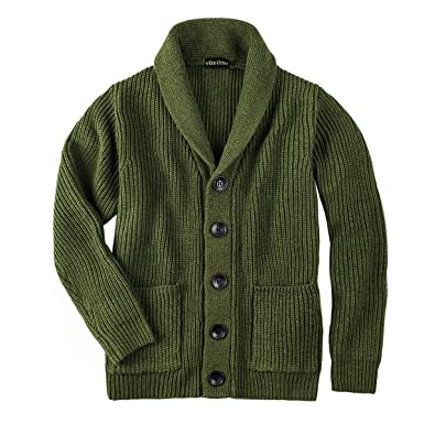 7f613cf4c1 VOBOOM Men's Knitwear Button Down Shawl Collar Cardigan Sweater with  Pockets (Army Green, ...