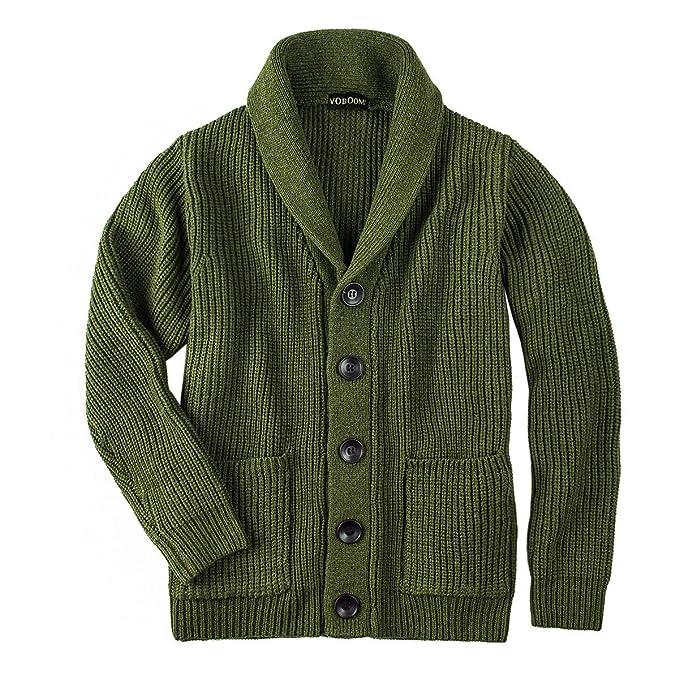 8e397eb7bb8 VOBOOM Men's Knitwear Button Down Shawl Collar Cardigan Sweater with Pockets