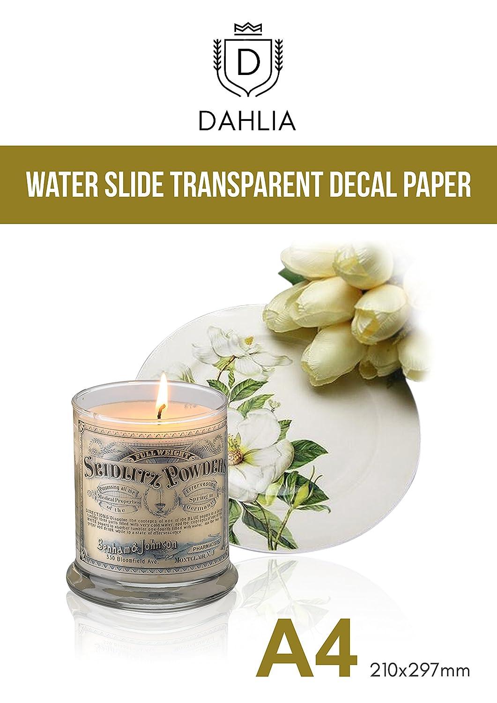 20 Sheets DIY A4 Inkjet Transparent Clear for Inkjet Printer+BONUS Brush DAHLIA Waterslide Decal Transfer Paper