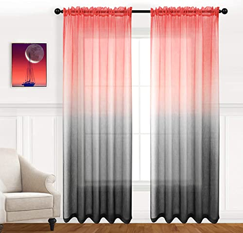Joywell Gradient Semi Sheer Curtains Ombre Retro Red and Black Literary Style Decorative Rod Pocket Curtain Panels 100 Polyester Faux Linen for Living Room, Girls Bedroom, 54 x 95 inches, Set of 2