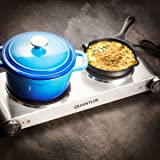 FortheChef Quantum Double Stainless Steel Silver Countertop Electric Burner, 1800W