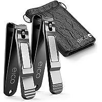 Eico Profi Nagelknipser 2er Set - Extra scharfe Premium Nagelzwicker mit integrierter Nagelfeile und Tasche – rostfrei - Für Finger- und Zehennägel - auch Linkshänder geeignet