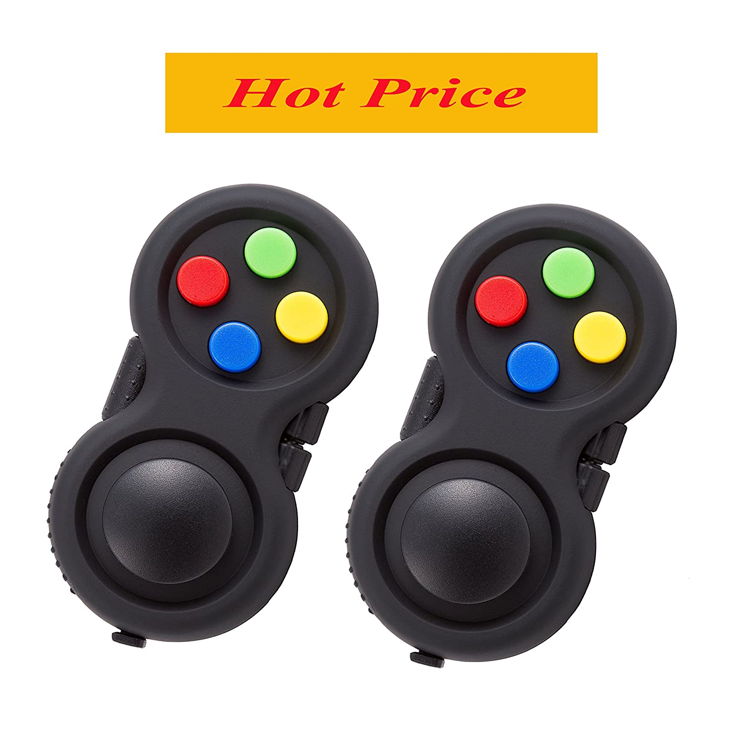 Fidget Pad - 9 Fidget Features (more than Fidget Cube) - Perfect For Skin Picking, ADD, ADHD, Anxiety and Stress Relief - Multi Color Rainbow on Black - Prime Ready and Shipped by  (2 of pack)