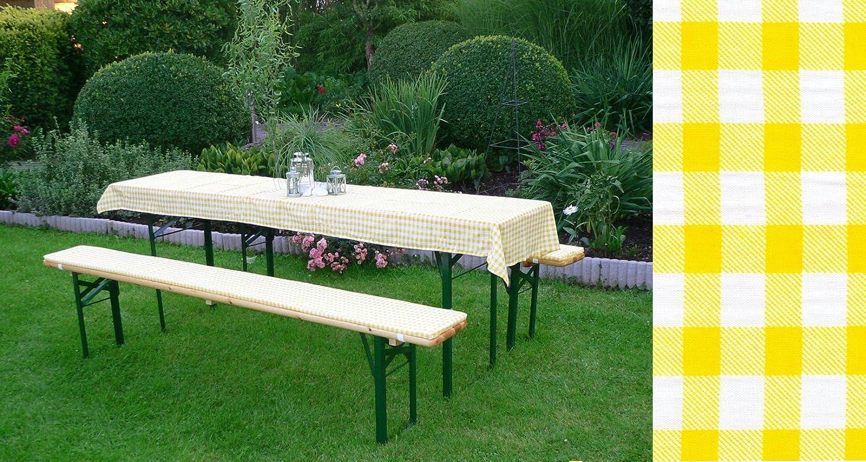 DEGAMO Auflagen Set für Festzeltgarnitur mit 50cm + 70cm Tisch, gelb-kariert
