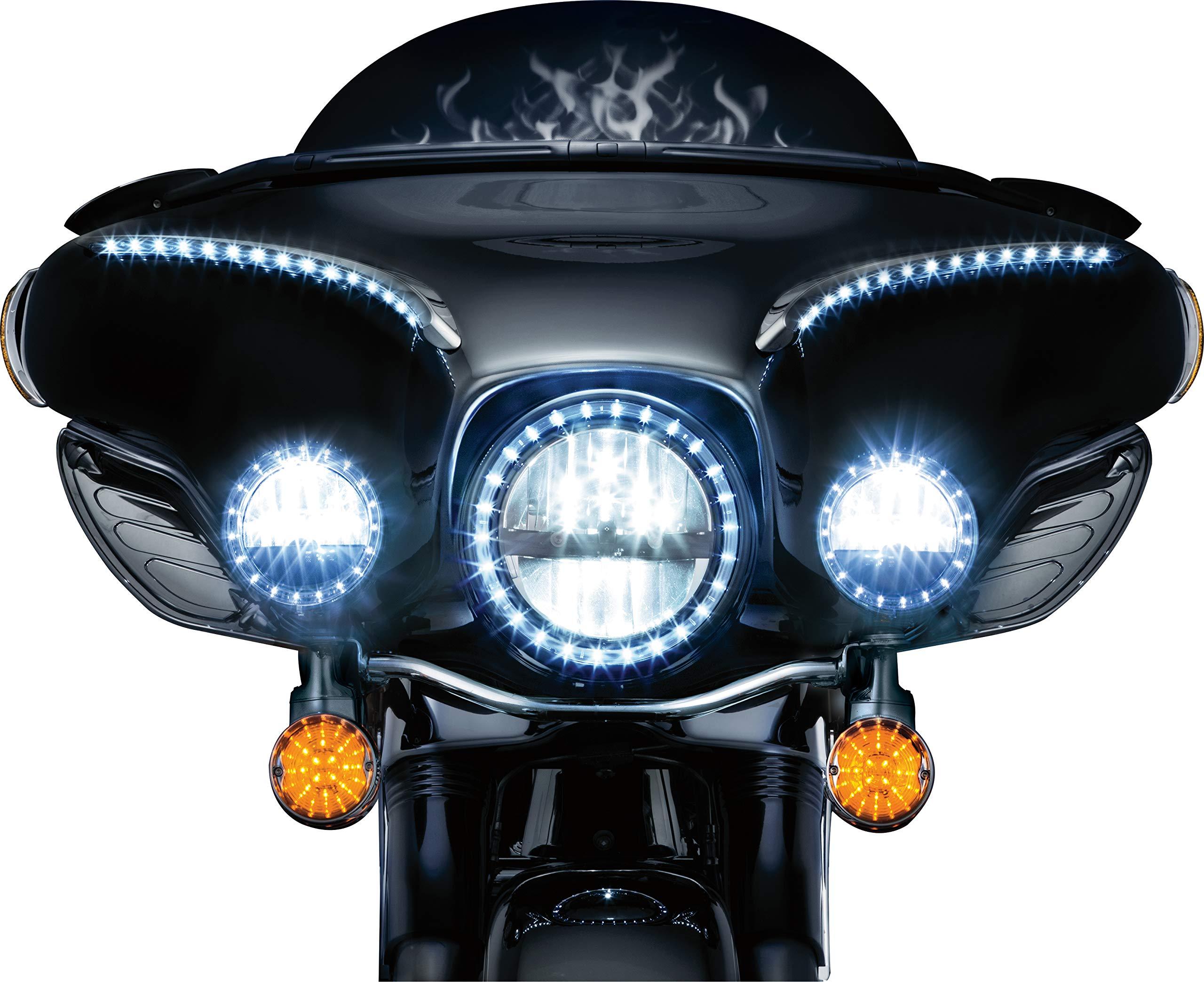 Kuryakyn 5440 Motorcycle Lighting: Flat Style LED Front Turn Signal Conversion Inserts, Dual Circuit for 1994-2019 Harley-Davidson Motorcycles, Amber Lenses, 1 Pair