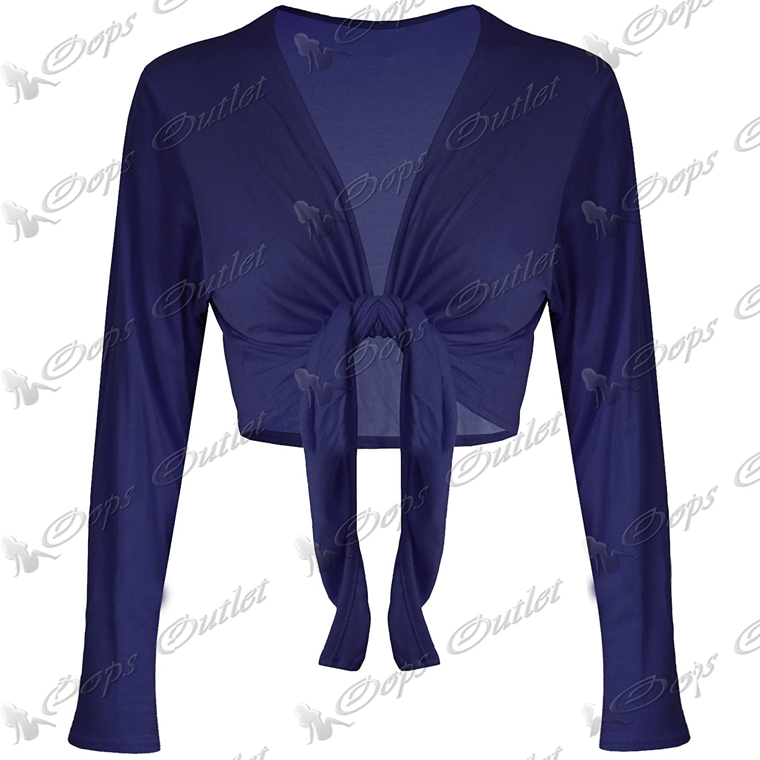 New Womens Ladies Long Sleeves Jersey Bolero Wrap Cardigan Shrug Crop Tie  Top  Amazon.co.uk  Clothing fdcd9fe1c