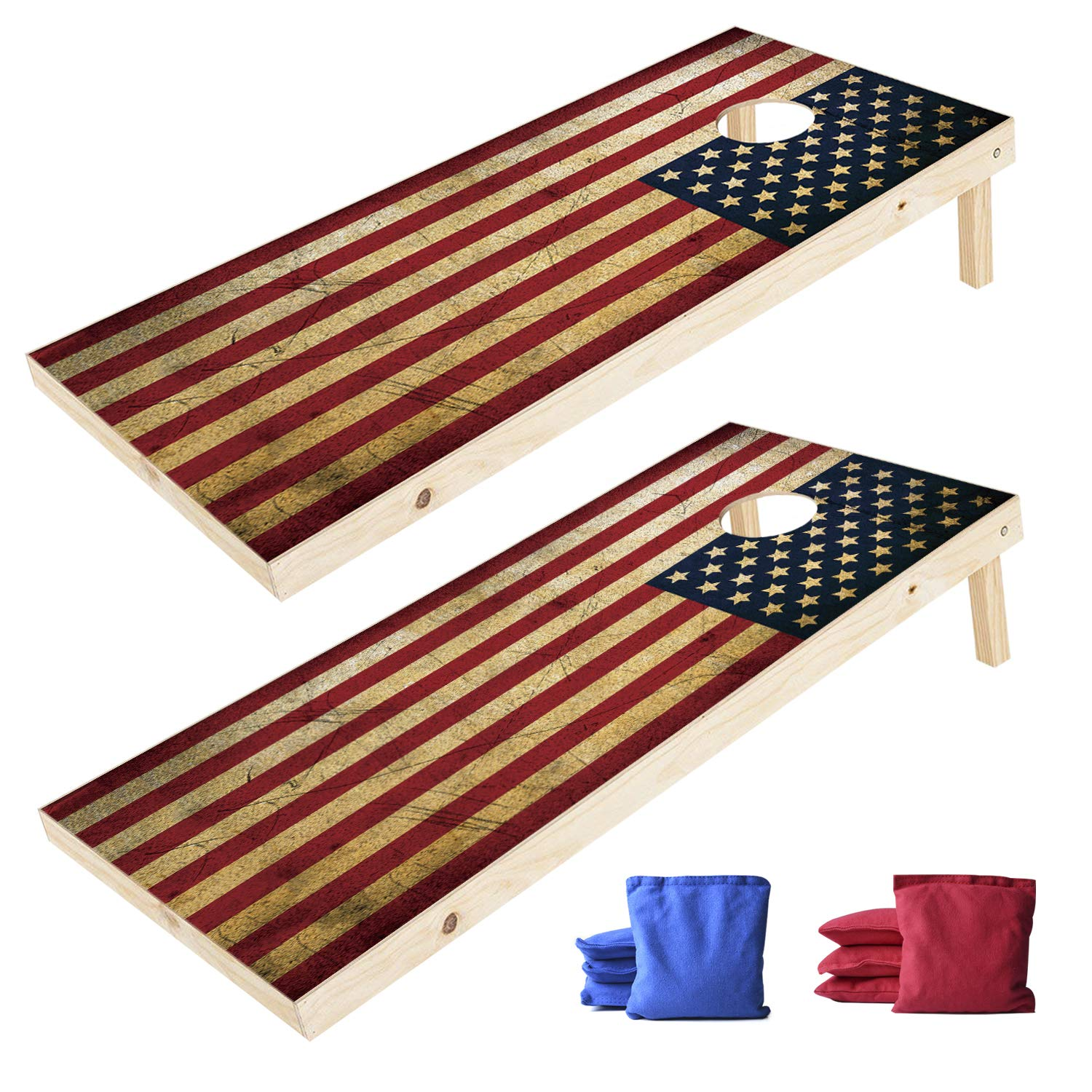 EXERCISE N PLAY 2 x 4 Ft Regulation Size Wood Corn Hole Board Game, American Flag Cornhole Boards, Includes 8 Cornhole Bean Bags Set(4 Red,4 Blue)