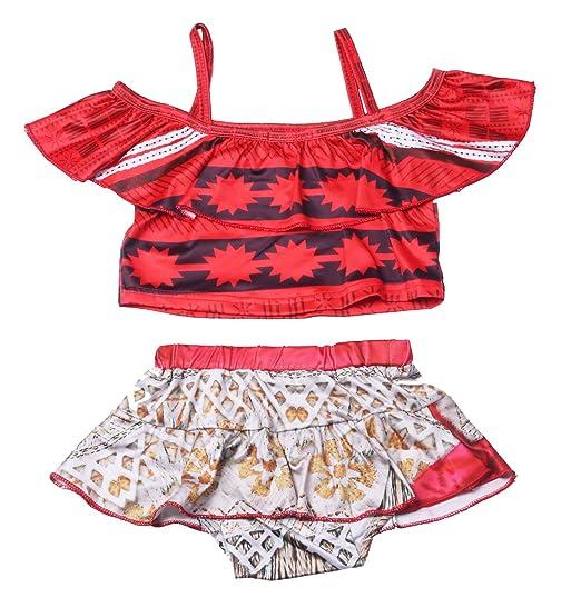 2d918cf6d17b5 KABETY Baby Girls Princess Moana Swimsuit Two Piece Off Shoulder Bikini Set  (Red 0221,