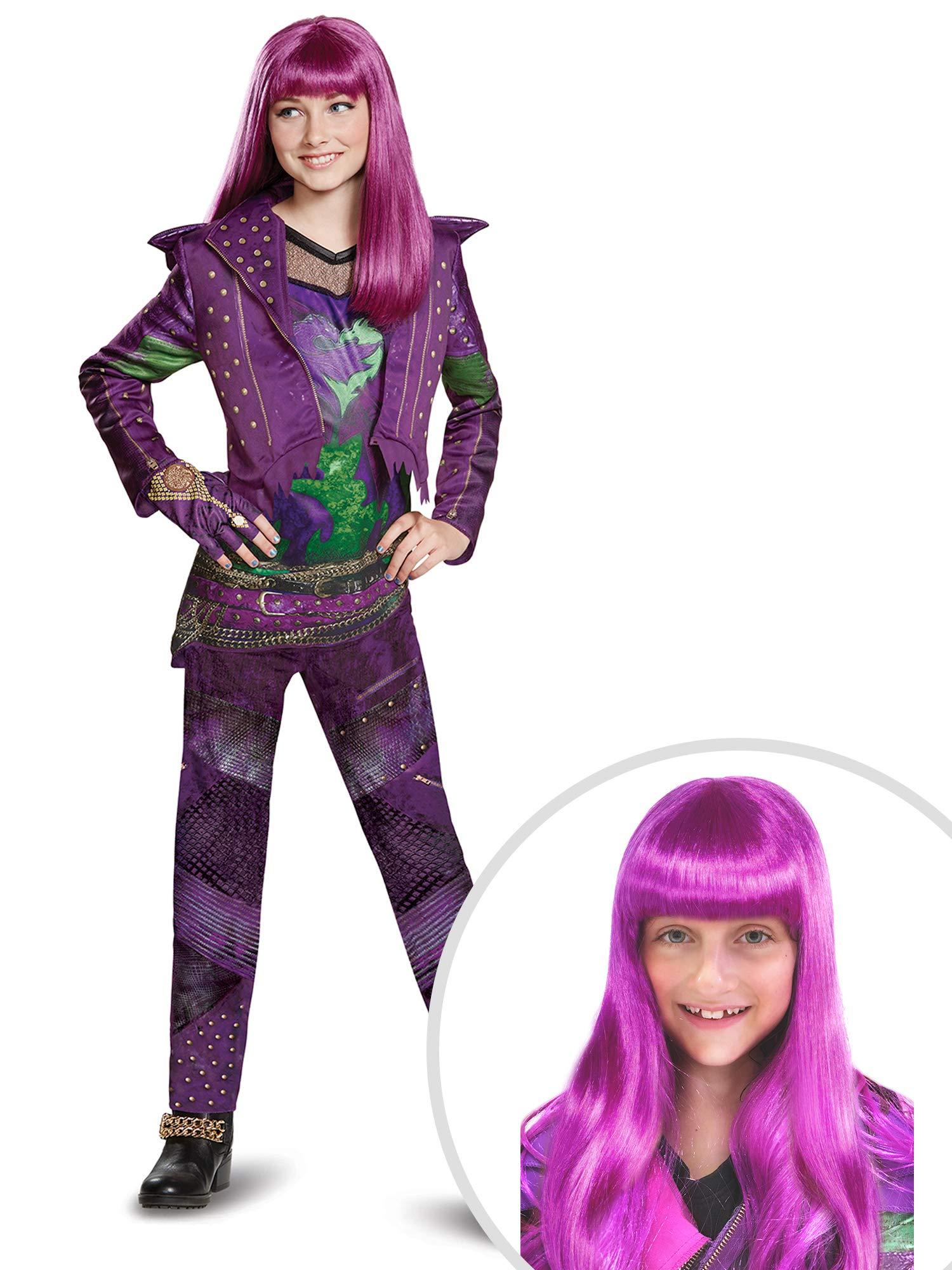 Descendants Mal Costume Kit Kids Medium With Wig