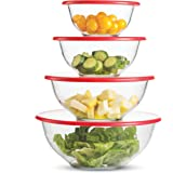 Superior Glass Mixing Bowls with Lids - 8 Piece Mixing Bowl Set with BPA- Free lids, Space Saving Nesting Bowls - Easy Grip &