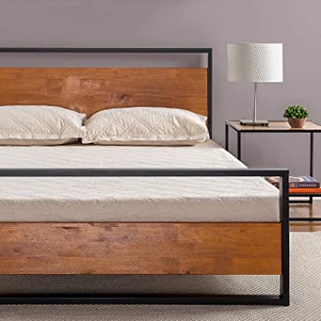 Amazon Com Zinus Suzanne Metal And Wood Platform Bed With Headboard And Footboard Box Spring Optional Wood Slat Support Queen Furniture Decor