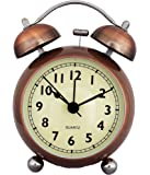 Rise N Shine Analogue White Copper Dial Vintage Look Table Alarm Wind-Up Clock With Night Led Display - Rnswt084