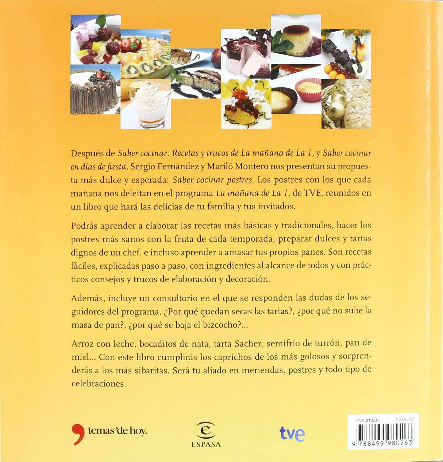 Saber cocinar postres: Mariló; Fernández, Sergio Montero: 9788499980263: Amazon.com: Books
