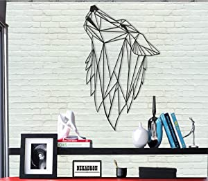 "Metal Wall Art - Geometric Wolf - 3D Wall Silhouette Metal Wall Decor Home Office Decoration Bedroom Living Room Decor Sculpture (14"" W x 24"" H/36x61cm)"