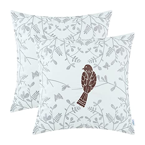 Review CaliTime Pack of 2 Cotton Throw Pillow Cases Covers for Bed Couch Sofa Cute Bird in Gray Garden Embroidered 18 X 18 inches Coffee
