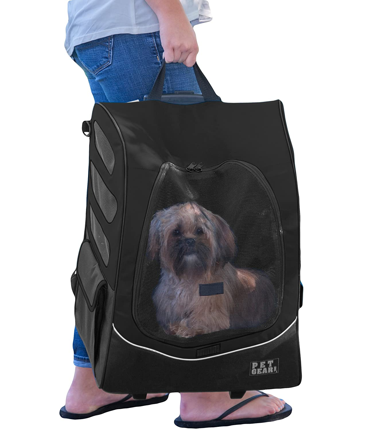 Pet Gear I-GO2 Roller Backpack Car Seat for Cats//Dogs Travel Carrier Storage Pouch Included Tether Mesh Ventilation Telescoping Handle