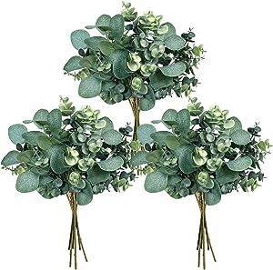 18 Pcs Mixed Eucalyptus Leaves Stems Bulk Artificial Silver Dollar Eucalyptus Leaves Picks Faux Eucalyptus Leaves Branches for Vase Bouquets Floral Arrangement Rustic Farmhouse Wedding Greenery Decor