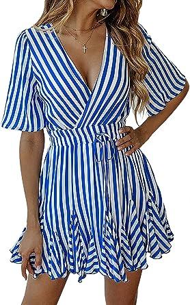 6058863b39701 ECOWISH Damen Kleider Gestreift A-Linie Sommerkleid V-Ausschnitt Wickelkleid  Kurzarm Mini Strandkleid Freizeitkleid