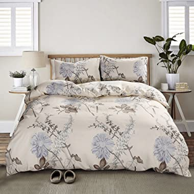 3 Piece Duvet Cover and Pillow Shams Bedding Sets, Hypoallergenic Breathable Soft Microfiber Flower Printed with Hidden Zipper and Tieback (Queen)