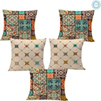 STITCHNEST Ethnic Circus Printed Canvas Cotton Cushion Covers, Set of 5