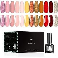TOMICCA 12 kleuren gel nagellak set, 6ml UV nagellak gel kit solide roze abrikoos wijn rood glitters Taffy gel nagellak