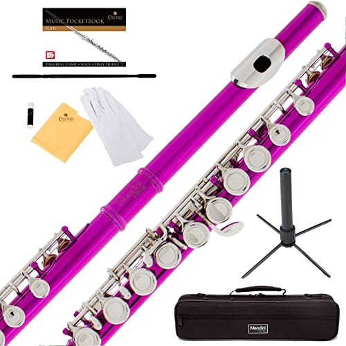 Mendini Fuschia Pink C Flute With Stand
