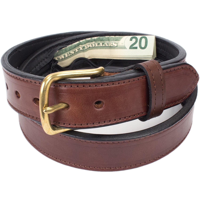 Hidden Money Pocket Travel Leather Belt (Size 52, Brown)
