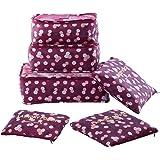 Shopper Joy 6 Pezzi Organizer per Valigie Organizzatore dei Bagagli da Viaggio 3 Cubi di Imballaggio 3 Borse per il Viaggio in Campeggio - Vino Rosso