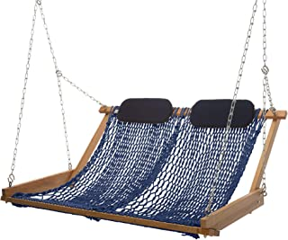 product image for Nags Head Hammocks Original Cumaru Rope Porch Swing, Navy Blue DuraCord