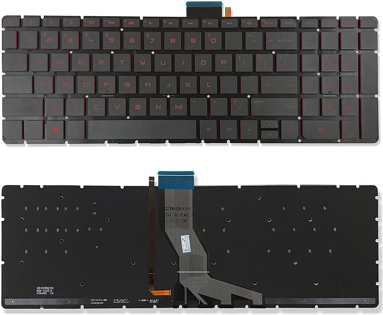 New US Red Font Backlit English Laptop Keyboard Replacement for HP Star Wars Special Edition 15-an044nr 15-an050ca 15-an050nr 15-an051dx 15-an058ca 15-an067nr Light Backlight