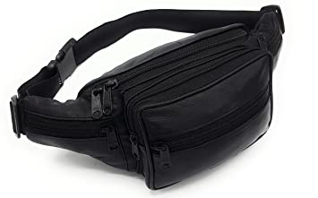 Bauchtasche  Leder Schwarz hüfttasche outdoor Gürteltasche Umhängetasche bag Sporttaschen & Rucksäcke