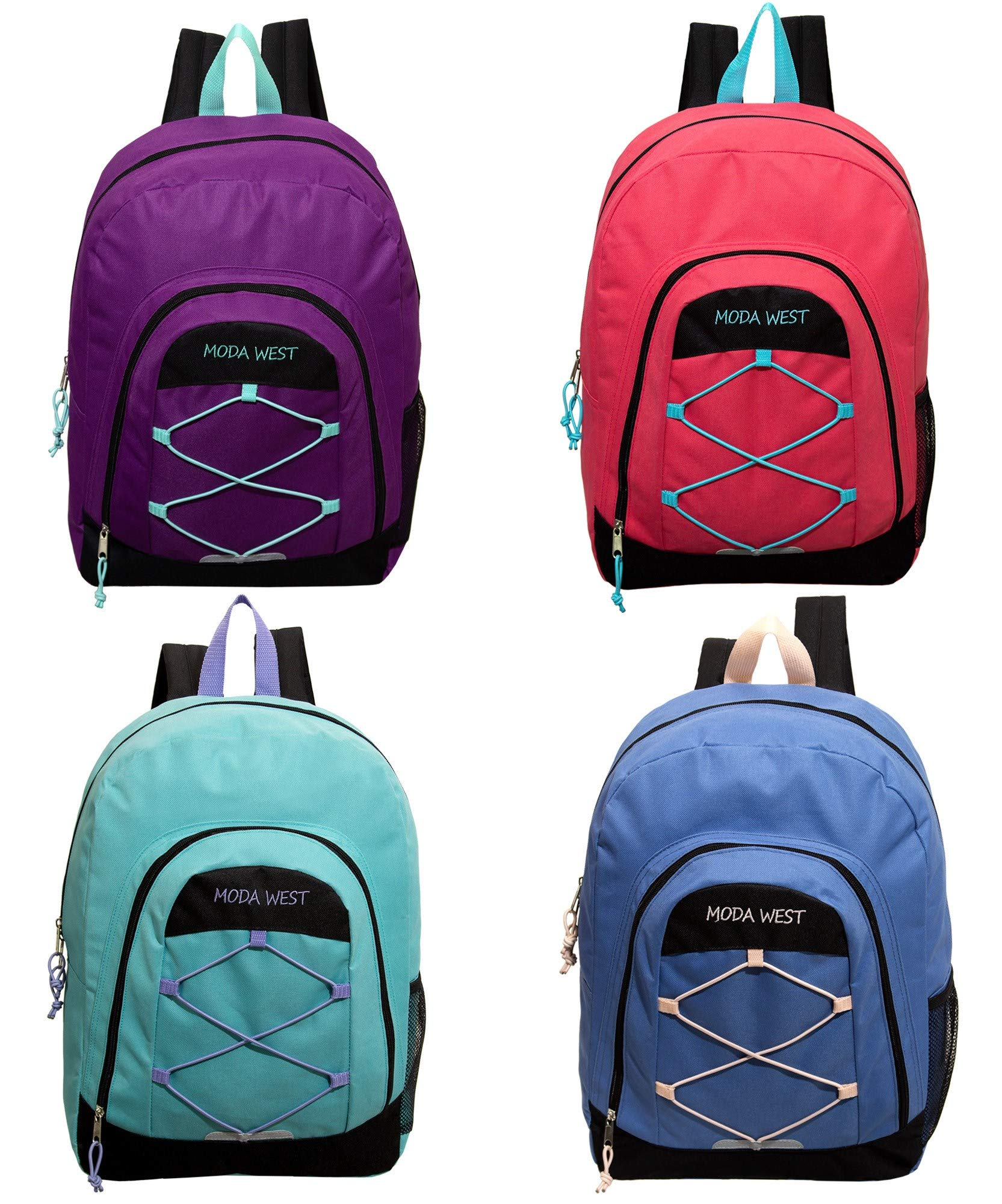 17 Inch Bulk Premium Bungee Sport Backpack in 4 Assorted Colors - Wholesale Case of 24 Bookbags by Moda West