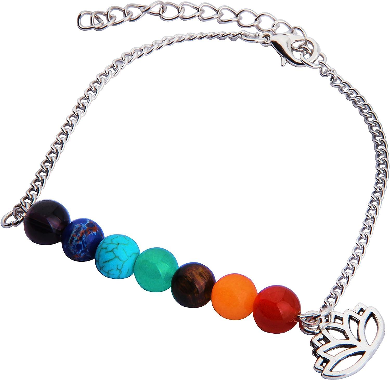 CHOROY 7 Chakra Yoga Jewelry Meditation Healing Beads Lotus Anklet with Lotus Charm Yoga Reiki Bangle for Woman