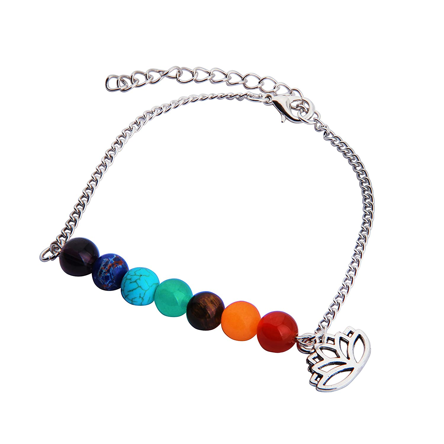 CHOROY 7 Chakra Yoga Jewelry Meditation Healing Beads Lotus Anklet with Lotus Charm Yoga Reiki Bangle for Woman