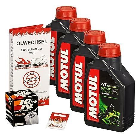 ölwechselset Motul 5000 10 W-40 Aceite + K & N cromo de aceite para