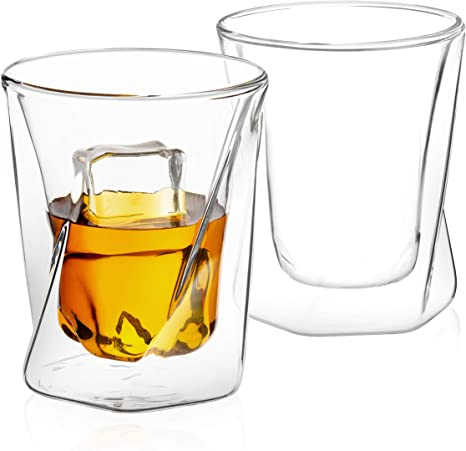 JoyJolt Spike Double Wall Glasses 13.5 Ounce Cocktail Drinkware Glass set of 4